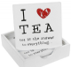 Set of 4 Wooden 'I Love Tea' Drinks Coasters with Wooden Holder 45860